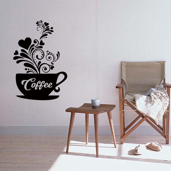 Love Coffee Cups Kitchen Wall Tea Sticker Vinyl Decal Removable Art Restaurant Pub Decor Sitting Room Matt Diy Large Vinyl Wall Decals Large Wall Art