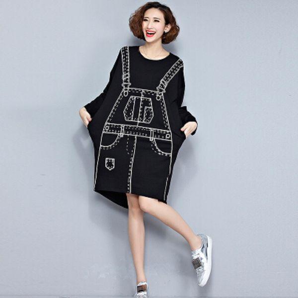 2016 European Style Women Fashion Mini Dress Braces Pattern Black Irregular One Piece T-Shirt Dress Long Sleeve Printed Tunic