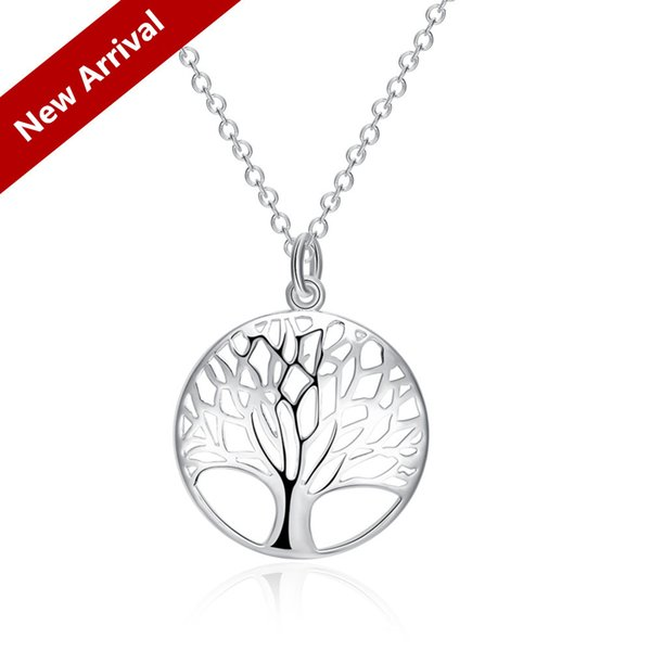 2017 Hot Item 925 Fashion Most Popular Hot Silver Plated Tree Of Life Pendant Necklace Wholesale Price Free Shipping