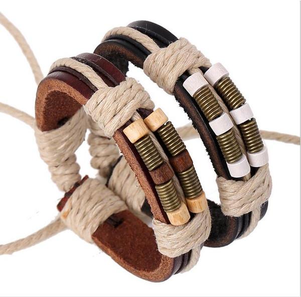 Nouveau Mode Simple Bracelet Tissé Pour Hommes Bronze Printemps En Bois Perles En Cuir Bracelets En Cuir Noir / Brun Réglable Taille 10 PCS Garçons Cadeaux