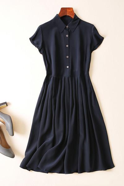 Tiny silk shirt dress female summer