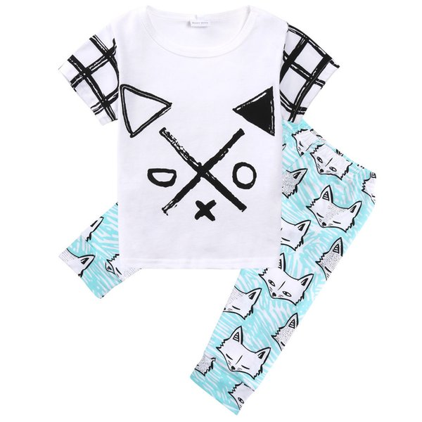 XO Algodón Orgánico Niño Niños Bebés Ropa Tops Camisetas Flechas Fox Light Blue Pantalones Trajes Set 1-5T 2Pcs Ropa para niños Producto al por mayor