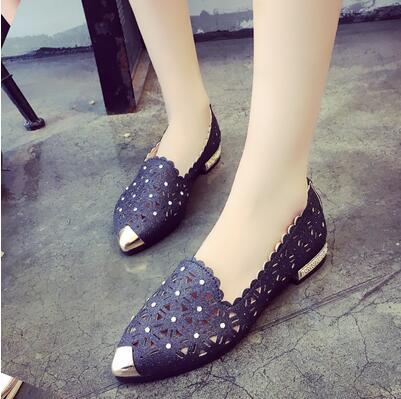 Lady with new coarse hole shallow mouth pointed all-match with hollow air cool summer low leisure shoes