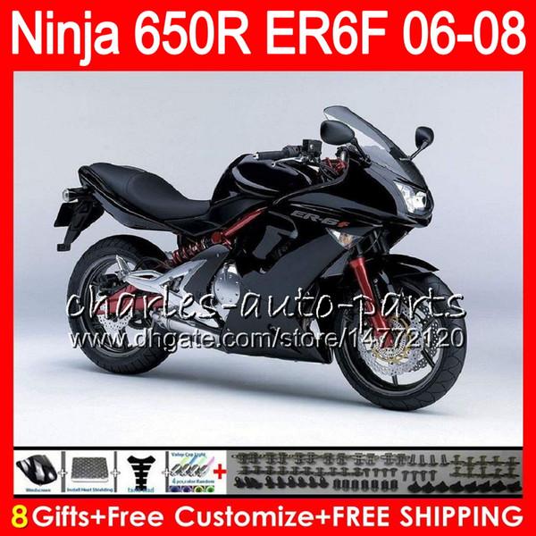 8Gifts 23Colors Body For KAWASAKI NINJA 650R ER6F 06 07 08 Ninja650R 20NO48 ER 6F 06-08 ER6 F ER-6F 2006 2007 2008 Factory black Fairing Kit