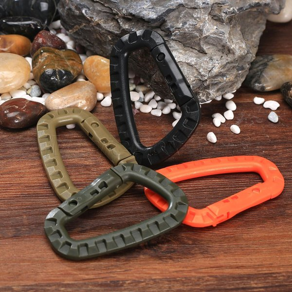 Moschettone in acciaio di plastica Climb Clasp Clip Gancio appendiabiti Quickdraw attach Mountain Camp Fibbia Hike Hang Outdoor Bushcraft Survival Tool