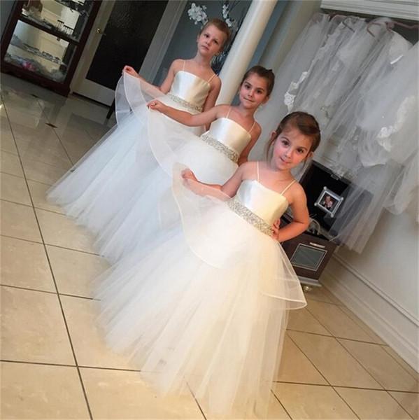 Nouvelle fille fleur robe de bal Parti Pageant Bretelles Spaghetti Communion robe pour le mariage Little Girls Enfants / Enfants Robe