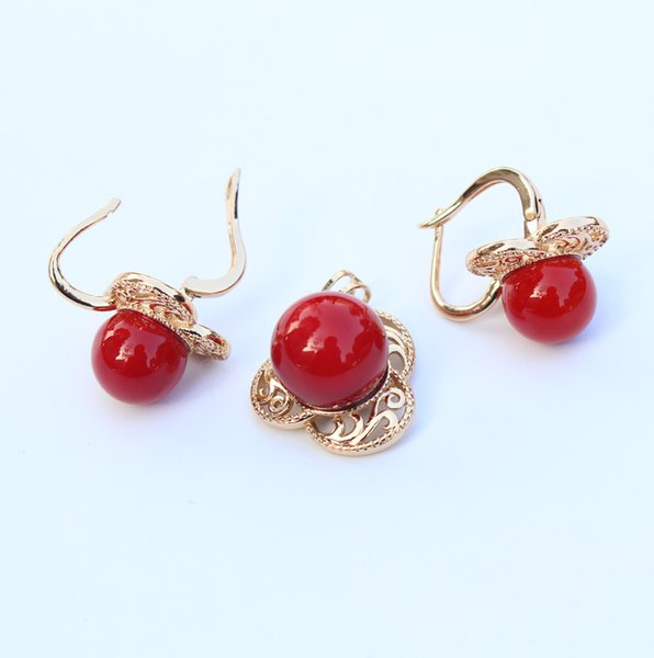 Fashion Red Coral Ball Shape Perfect Earrings + Pendant & Necklace Women Wedding & Engagement / Birthday Jewelry Set 11 G