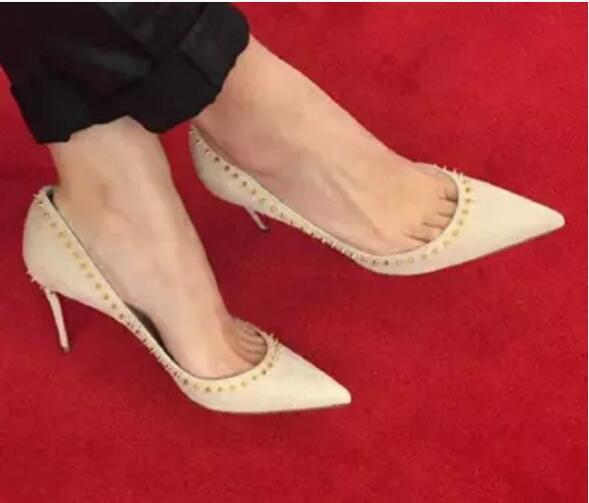 2017 fashion spike stud pumps party high heels point toe nude pumps thin heel suede leather party shoes lady slip on dress shoes