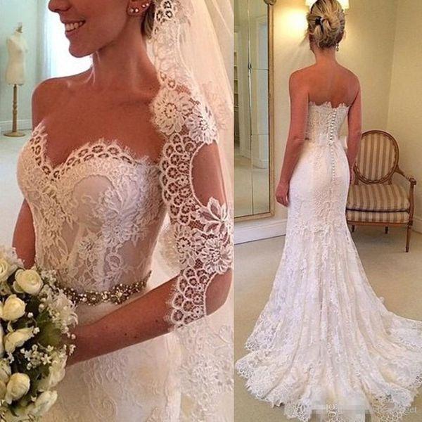 Free Veil Mermaid Wedding Dresses Lace 2017 Sweetheart Vestido de noiva Appliques Romantic Backless Wedding Dress White Beach Bridal Gowns