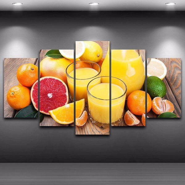 Fruit Oranges Juice Glass 5 Panel Canvas Painting Modern Home decoration Wall Art Print Picture For Dinning room No frame Free Shipping