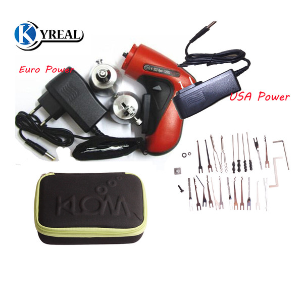 best selling Hot KLOM Cordless Electric Lock Pick Gun with Different Size Blades USA   Euro Power Supply Pick Set Guns Locksmith Tools