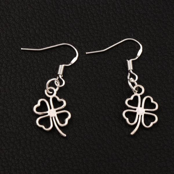 Open Heart Clover Earrings 925 Silver Fish Ear Hook 40pairs/lot Antique Silver Chandelier E368 11.3x34mm