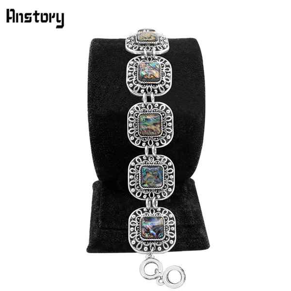 Wholesale- Anstory Square Hollow Flower Shell Bracelet Vintage Look Tibet Alloy Antique Silver Plated Jewelry For Woman TB270