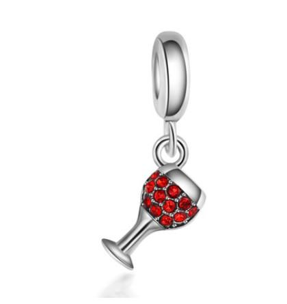 Fits Pandora Charm Bracelet Crystal Wine Glass Pendant Beads Sterling Silver Dangle Loose Charms For Diy European Snake Charm Chain Jewelry