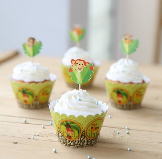Forest Cupcake Toppers Picks Cupcake Pick Muffin Cupcake Wrappers and Toppers for Baby Shower Birthday Party Decoration
