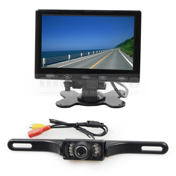 7inch Touch Button Ultra-thin Screen Car Monitor + IR Night Vision Rear View Car Camera + 5m Video Cable