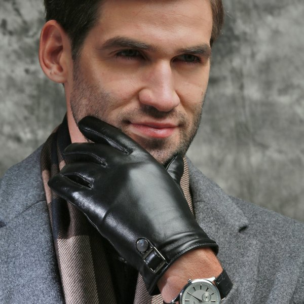 Wholesale- 16 New arrival men leather gloves high quality sheepskin gloves Touch screen gloves