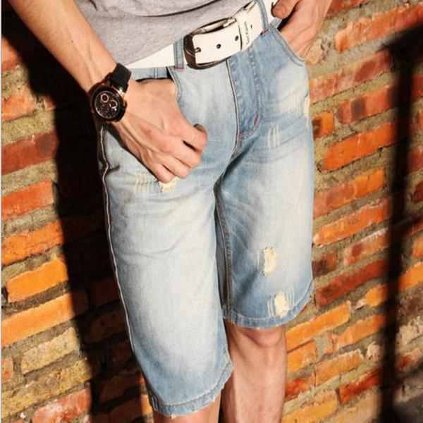 Мужская отверстие джинсовые шорты хлопок короткие джинсы новый летний мужчина тонкий удобные короткие джинсы Fshion короткие брюки размер 39 40