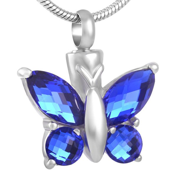 ijd8491 Hot Sell Blue Butterfly Crystal Urn Pendants&Necklace for women Cremation Necklace ash jewelry Funeral keepsake
