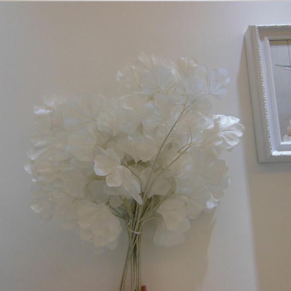 Feuilles de ginkgo artificielles sur la décoration de la maison 12pcs blanc bouquet de mariage