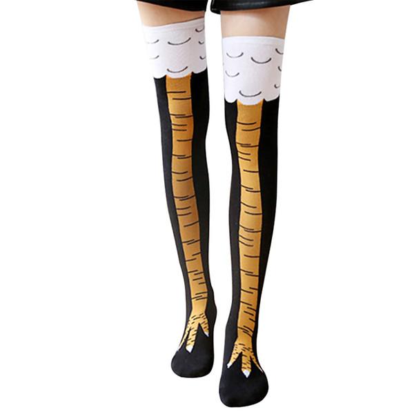 New Winter Warm Cartoon Animals Stockings Women's Yellow 3D Chicken Feet Toe Cotton Blend Long Knee High Socks Free Shipping