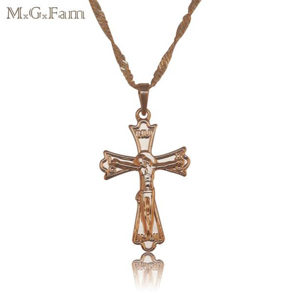 (156P) 18K желтое золото покрытием магия Иисус крест кулон ожерелье нет камня с 45 см соответствия цепи