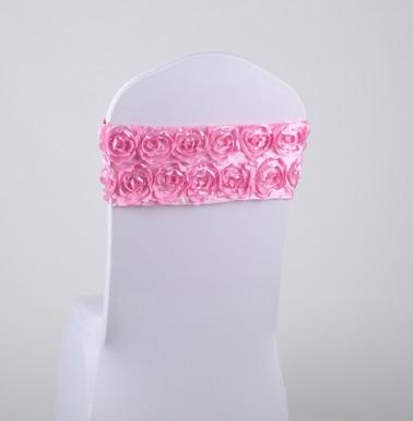 Free EMS DHL 100pcs (No need to Tie the Knot) Elastic Flower Wedding Chair Cover Sashes Sash Party Banquet Decoration Decor