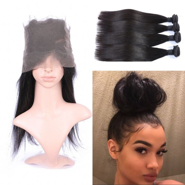 130% Density 360 Lace Frontal with 4 Bundles Natural Color Mongolian Human Hair Weaves with Straight 360 Frontal FDSHINE