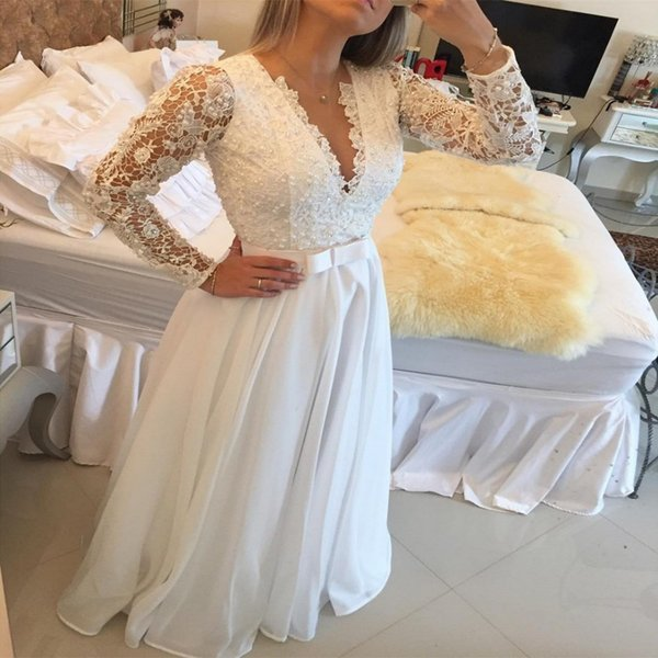 Elegant Long Sleeve A Line Evening Dresses Lace Floor Length Sexy V Neck See Through Back White Custom Made Evening Gowns