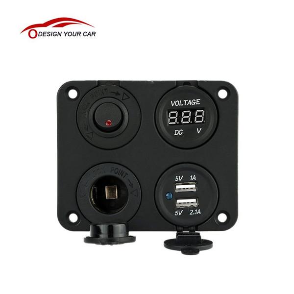 Atacado-Quatro Buraco Dual USB Soquete + Painel de Base + Medidor de Voltímetro + Soquete de Alimentação ON-OFF Interruptores de Botão para o Caminhão Do Carro Da Motocicleta Barco ATV