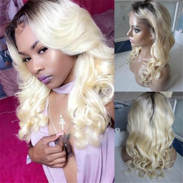 Celebrity Wigs Blond Glueless Lace Front Wig Human Hair Ombre 1B 613 Loose Wave Virgin European Hair Ombre Full Lace Wig Free Shipping