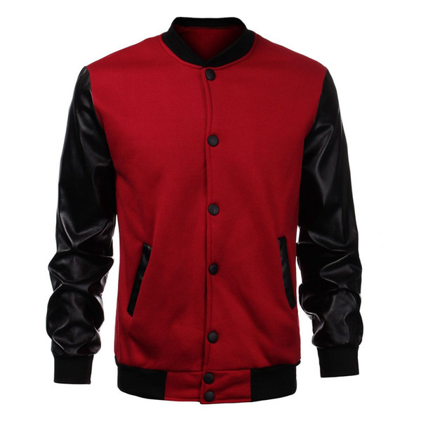 Wholesale- 2016 Fashion Design Cool College Baseball Jacket Men Black PU Leather Sleeve Sweatshirt Mens Slim Fit Varsity Bomber Jacket