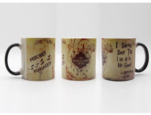 Wholesale new HP map mugs marauders map coffee mugs cold hot heat sensitive mischief managed mug transforming heat changing color mugs