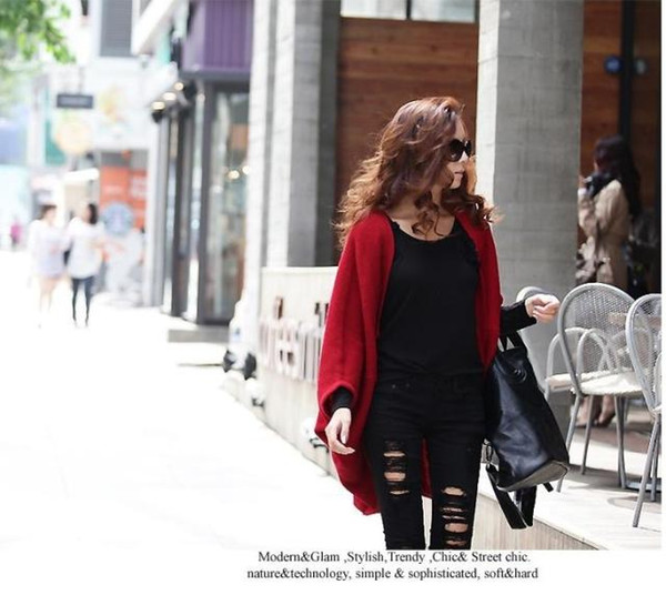 Free Shipping 2017 Women New Fashion Korea Black Red Knitted Thin Wool Knitted Capes Ladies Autumn Loose Cardigans Sweaters Drop Ship