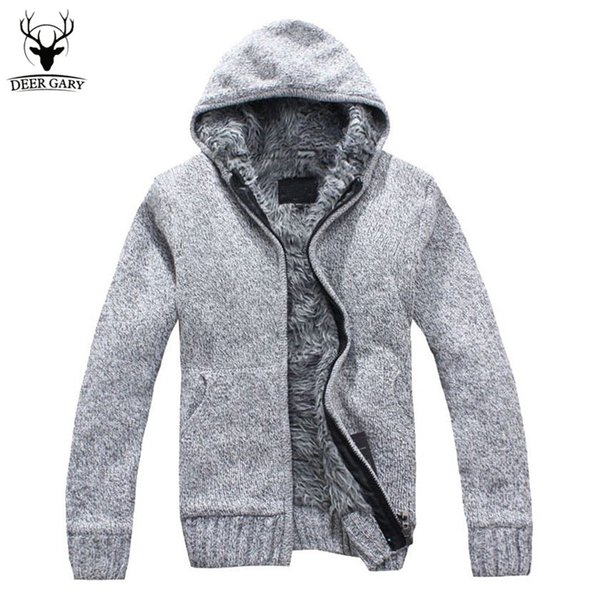 Wholesale-5Colors 2016 New Autumn Winter Fur Lining Thicken Hoodies Men Casual Zipper Warm Hoody Knitted Sweatshirt mens winter Jumper