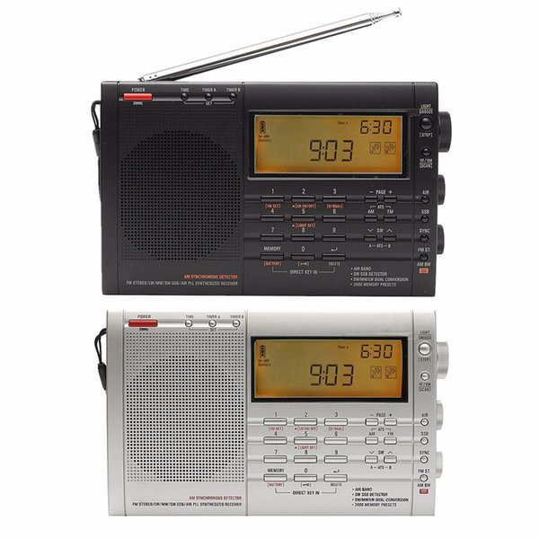 Wholesale-PL-660 FM Radio Stereo LW/SW/MW/SSB AIR PLL Synthesized Receiver Portable Radio DSP Digital Radio Black Silver