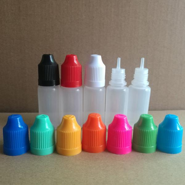 Hochwertige E-Flüssigflasche 10 ml PE / PET-Tropfflaschen aus Kunststoff mit kindersicheren Verschlüssen und feinen Spitzen für elektronische Zigarette über FedEx