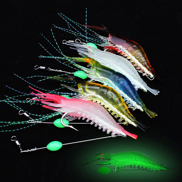 Fishing Lure Glow Shrimp Big Soft Luminous Steel Wire Big Shrimps with Hook Bait 9cm/5.2g Artificial Lures