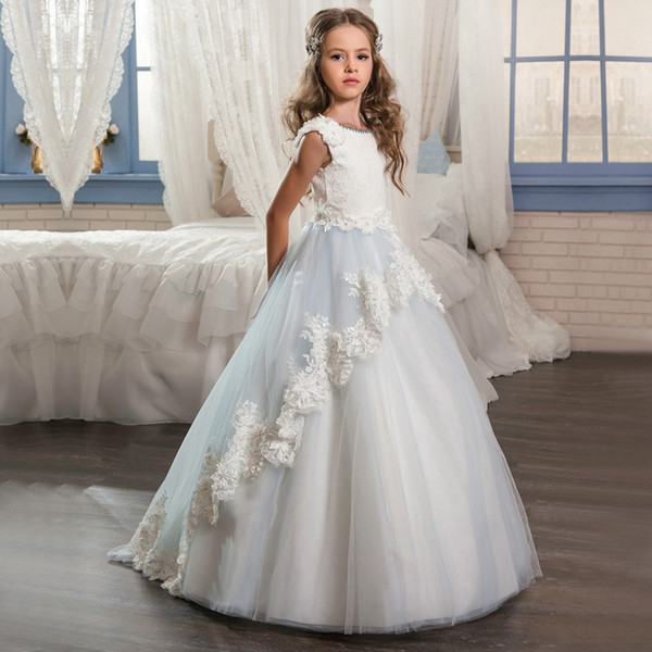 2019 NEW Long Pageant Dresses For Girls Glitz Lace Train Beautiful Ball Gown Puffy Kids Prom Dress Children Graduation Gown