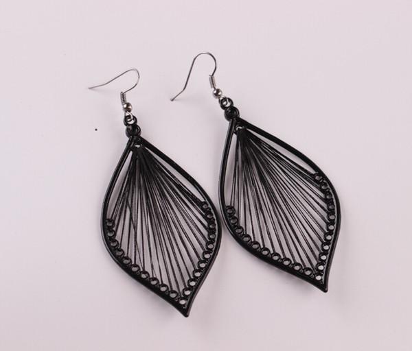 Beautiful Elegant Handcraft Thread Leaf Dangle Drop Hook Earrings Jewelry for girlfriend birthday gift free shipping