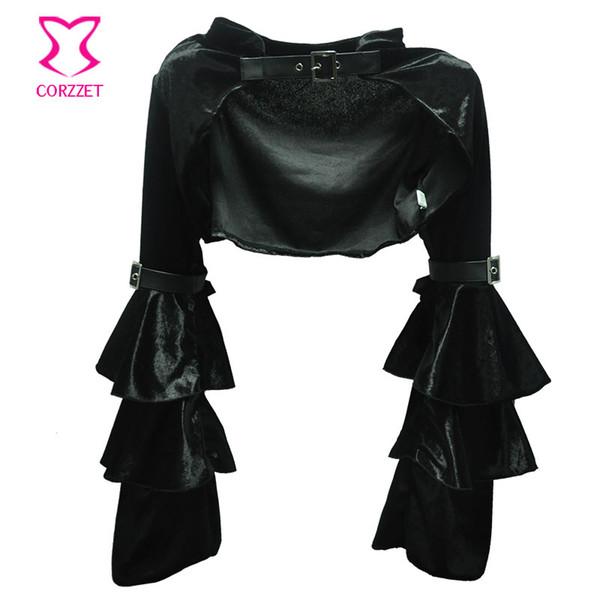 Al por mayor-Negro manga larga de la franela de la franela con la correa Steampunk Chaqueta Mujeres Gothic Bolero Coat Outwear Sexy Corsé Burlesque accesorios