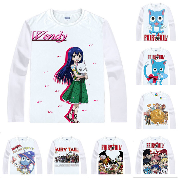 Anime Shirt Fairy Tail T-Shirts Multi-style Long Sleeve Happy Winged cat Carla Sharuru Cosplay Motivs Kawaii Shirts