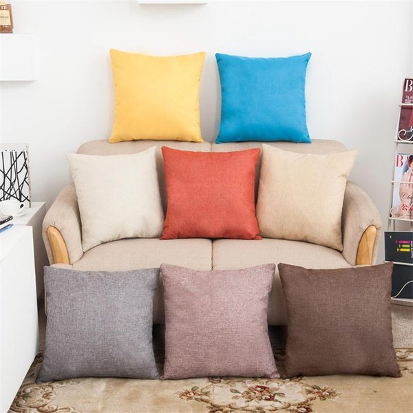 top popular Pillow Covers Cushions Cover Solid Color Linen Fashion Office Sofa Chair Home Textiles Pillowcase Without Pillow Core 2019