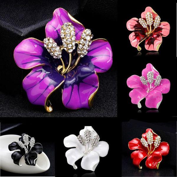 Luxury Rhinestone Flower Brooches Crystal Floral Brooch Pins Corsege Breastpin Women Bridal Wedding Jewelry 6 Colors
