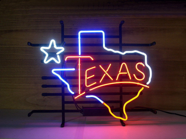 New TEXAS Lone Star Real Glass Neon Light Sign Art Home Wall Beer Bar Pub Sign