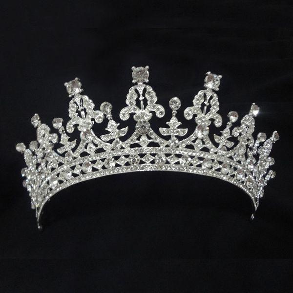 Real Photo Vintage Crystal Rhinestone Crown Wedding Bridal Accessory Crystal Bridal Tiara Classic Design Prom Party Hairband Free Shipping