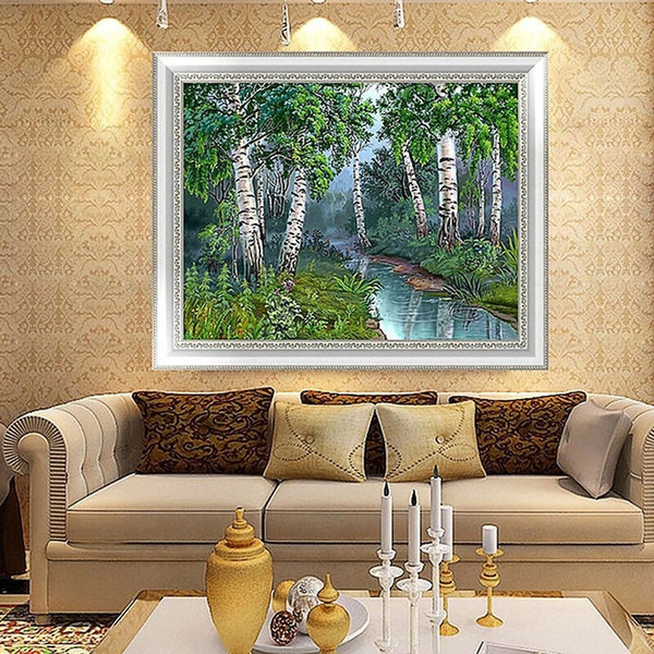 Full Drill DIY Diamond Painting Embroidery 5D Forest Trees Cross Stitch Crystal Square Home Bedroom Wall Decoration Decor Craft Gift