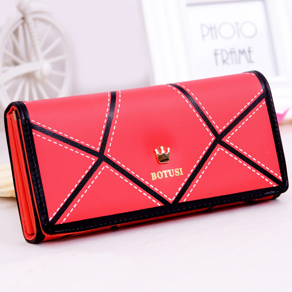 New Women Wallets Patchwork PU Leather Luxary Gold Crown Lady Handbags Coin Purse Woman Clutch Wallet Cards ID Holder Burse Bags