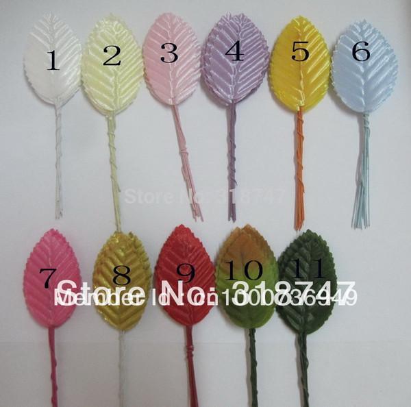 Venta al por mayor: aprox. 4,8 * 3 cm Hojas de flores artificiales de alta simulación medias de nylon decoración 100pcs / lot D027031030 (1)