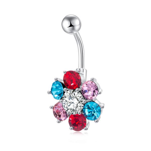 Oro blanco plateado bola de acero inoxidable con barra curvada de cristal de colores de ombligo del ombligo anillos anillos joyería Piercing